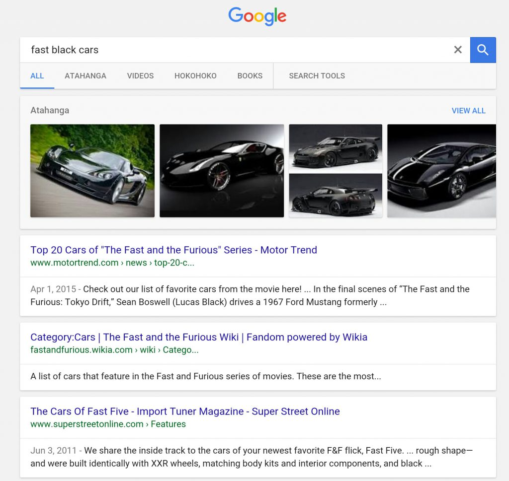 fast black cars search results page screenshot: