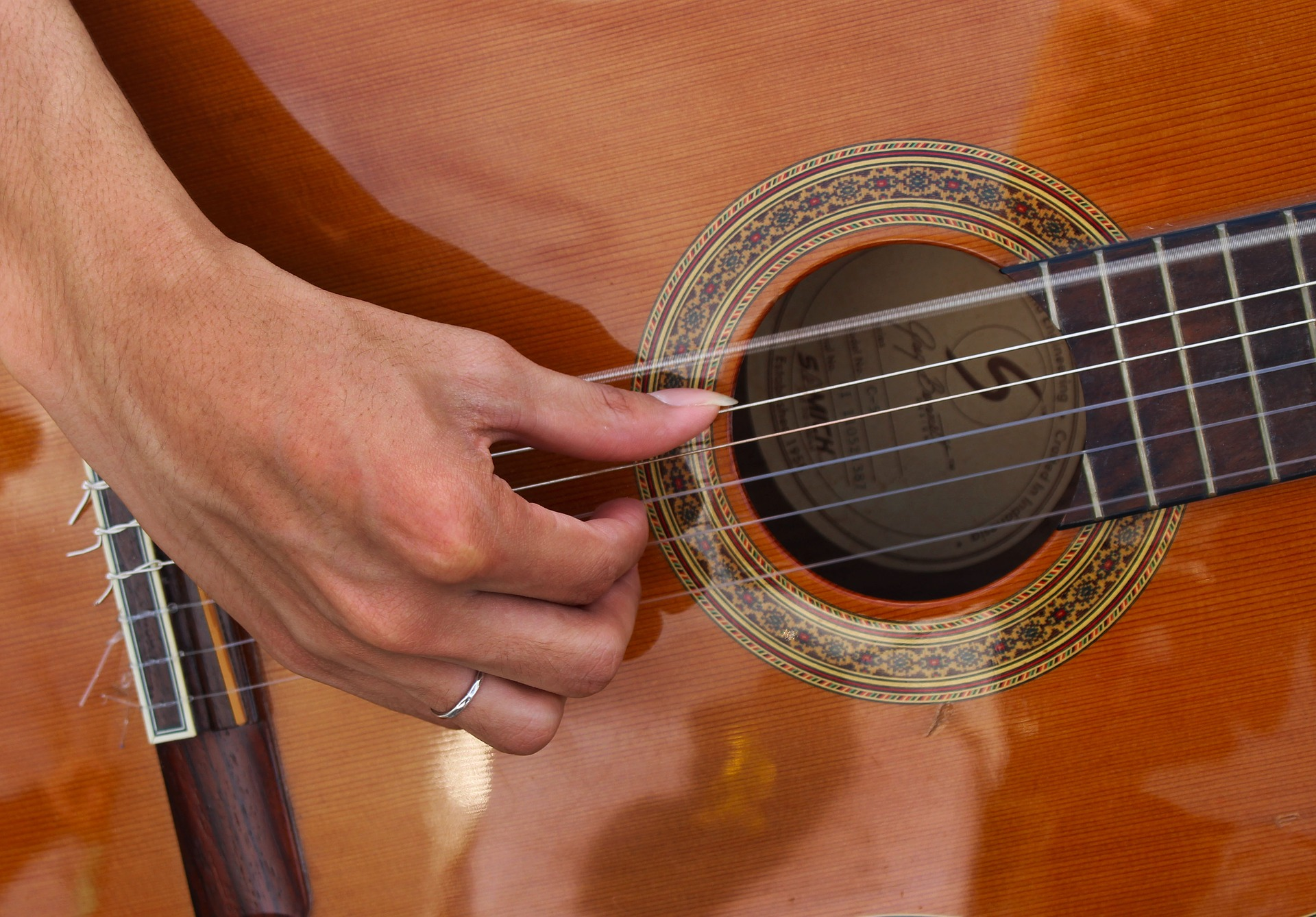 'Playing a guitar' image: