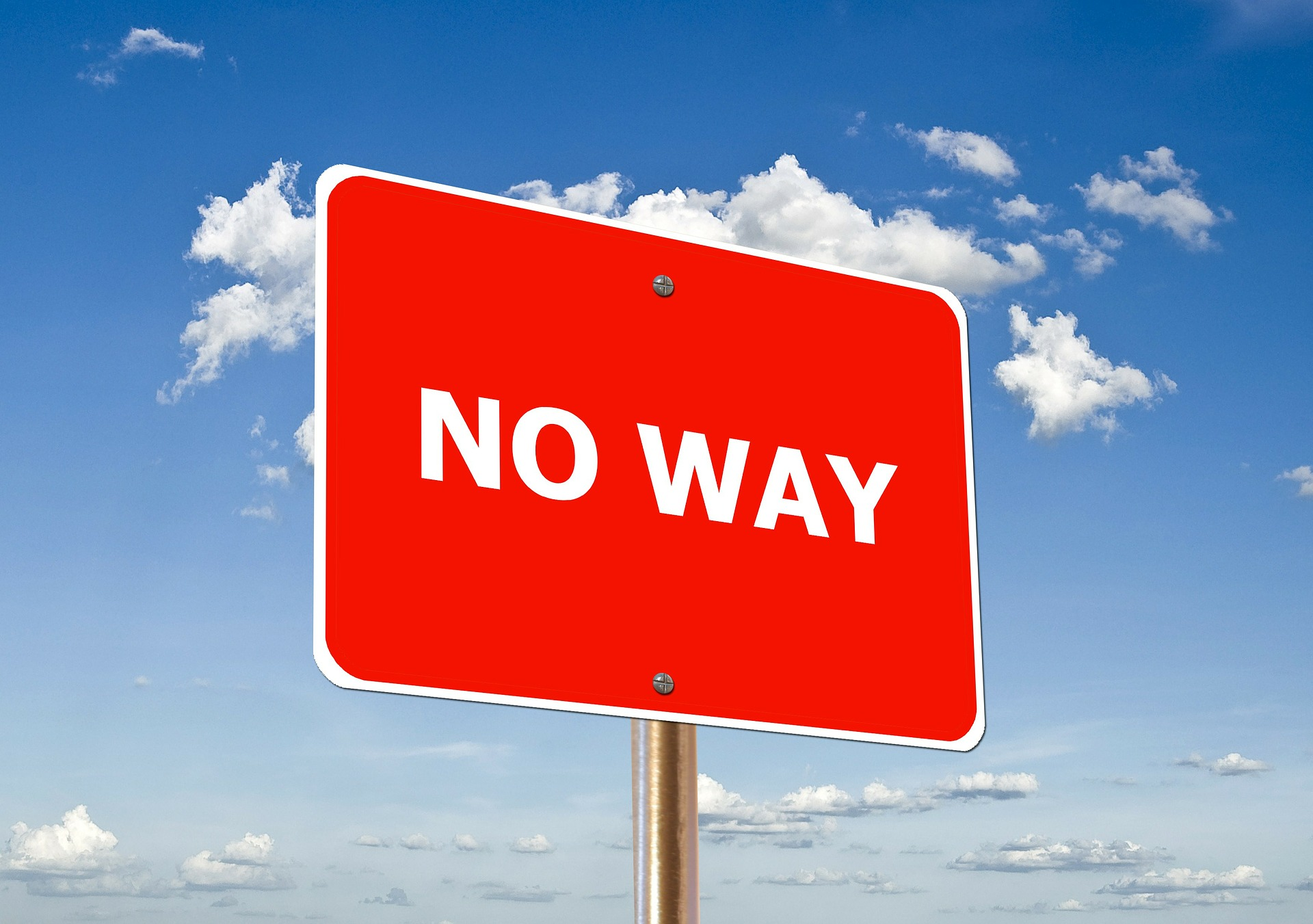 Online Income Access Review - 'No Way' signage