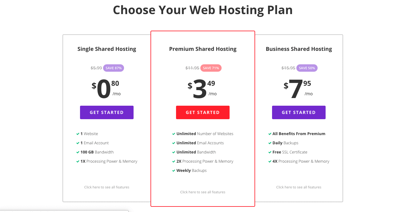 Hostinger Web Hosting Review - price chart 3