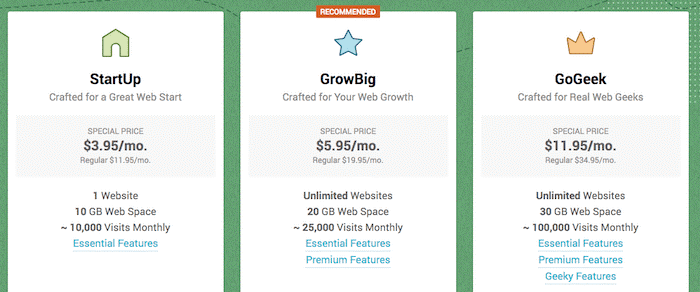 SiteGround Web Hosting Review - packages