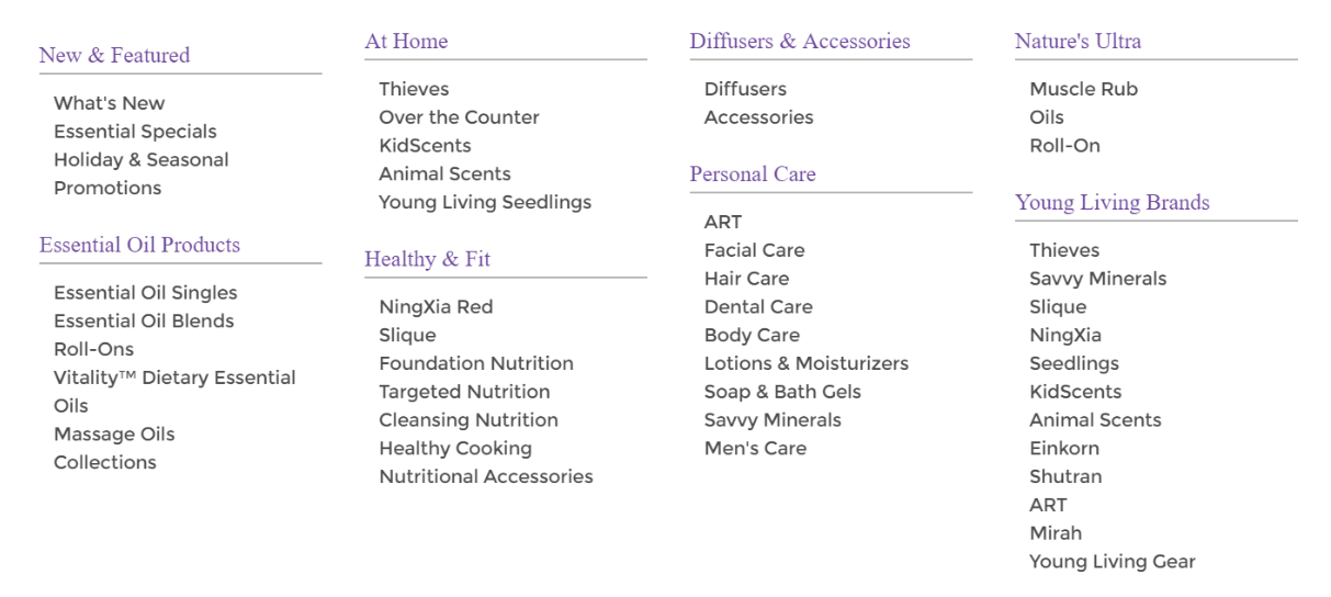Young Living MLM Review - product list