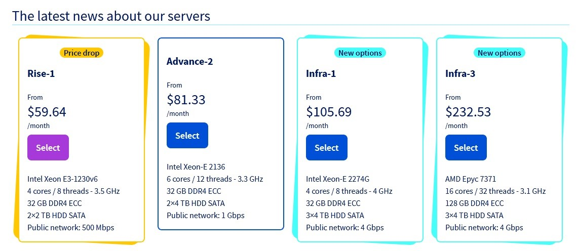 OVH Dedicated Server Review - pricing options