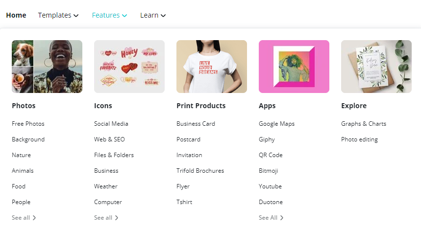Canva Pro Review - photos, icons, print products, apps, explore