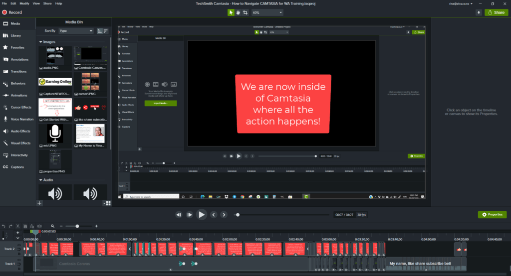 How to Navigate Camtasia - Canvas Screenshot
